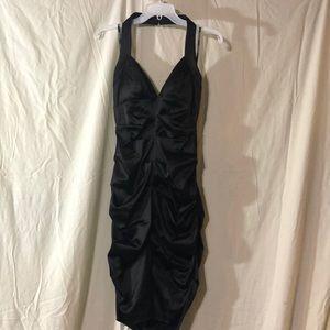 Xscape Ruched Stretch satin Halter dress